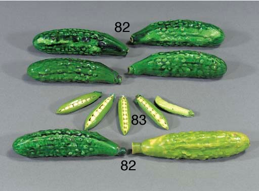 Six green-glazed pottery flask