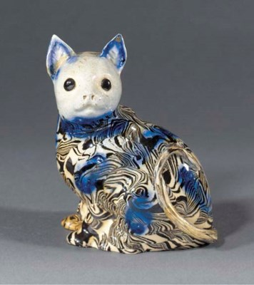 A solid-agate model of a cat