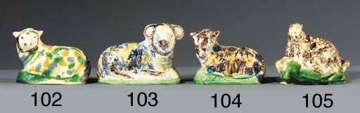 A creamware group of a ewe and