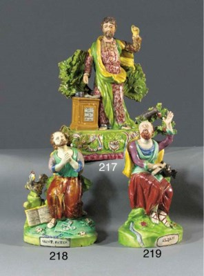 A pearlware figure of St. Pete