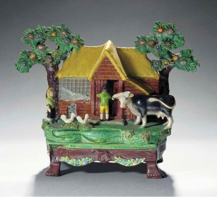 A pearlware Red Barn table-bas