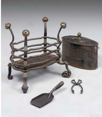 A Continental wrought iron and