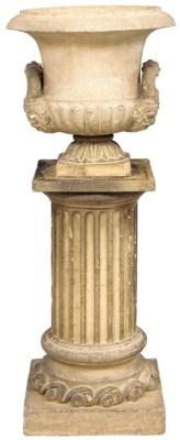 A terracotta twin handled urn