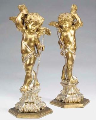 A pair of Italian gilt and sil