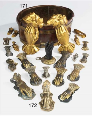 A collection of gilt brass and