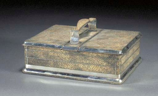 A SHAGREEN AND SILVER BOX