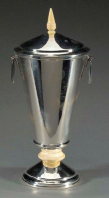 A SILVER AND IVORY VASE AND CO