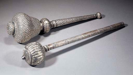 Two Indian silver maces 19th C