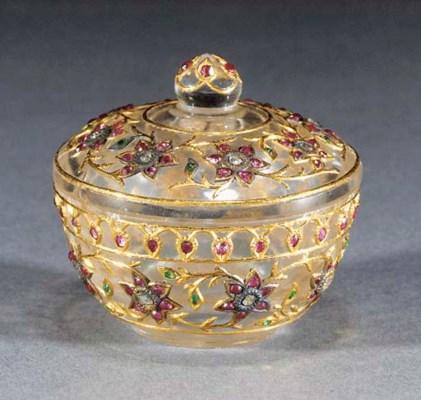 A Mughal gem set crystal box a