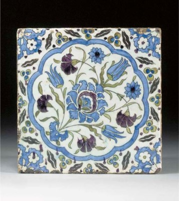 A Damascus pottery square tile
