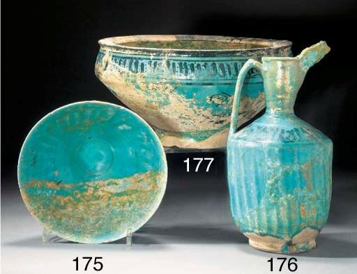 A Kashan turquoise glazed coni