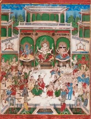 Vishnu Shiva and Brahma hold c