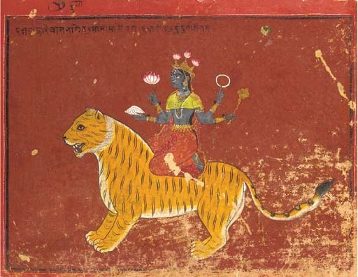 Durga Seated on a Tiger By Waj