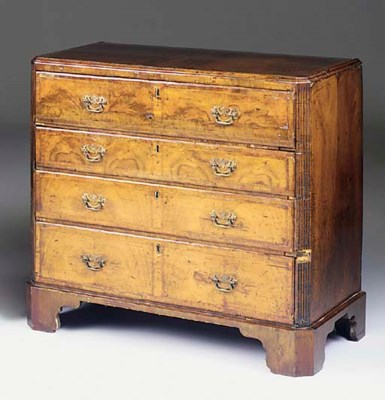 A walnut secretaire chest of d