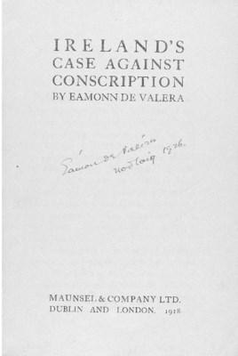 DE VALERA, Éamon (1882-1975).