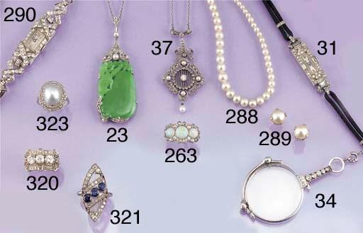 A jade, diamond and pearl pend