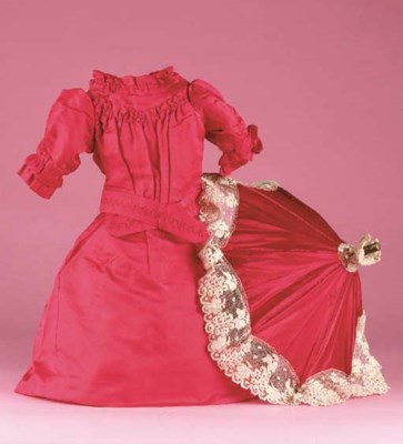 A red silk dolls' frock