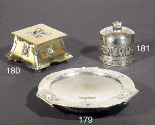 A MIXED METAL INKWELL probably