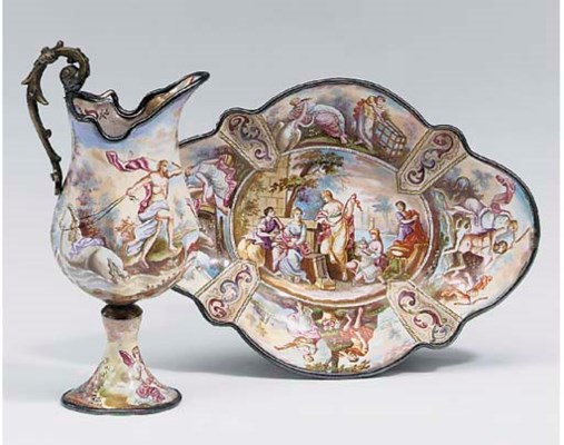 A Viennese enamel ewer and lob