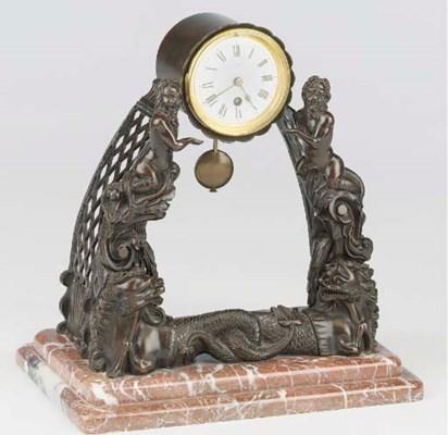 A French bronze mantel timepie