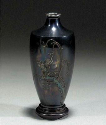 A shakudo tapering vase Meiji