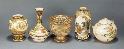 A Satsuma stem cup Meiji Perio
