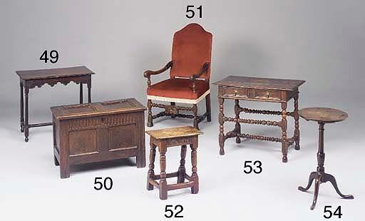 An oak centre table, English,