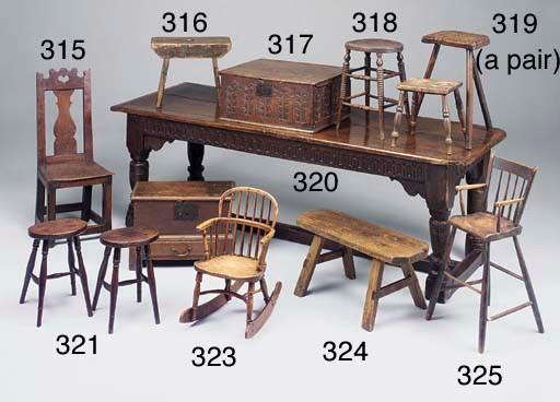 A pair of oak stools, Thames V