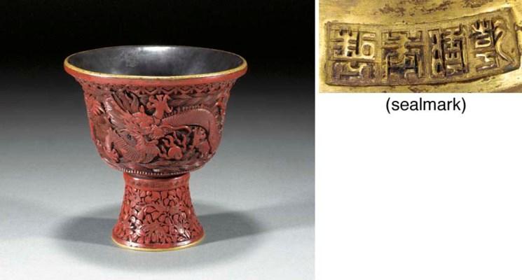 A cinnabar lacquer stem-cup Qi