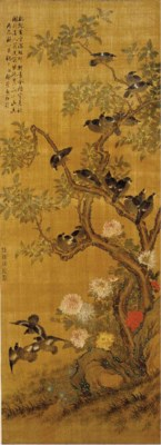 A hanging scroll, ink and colo