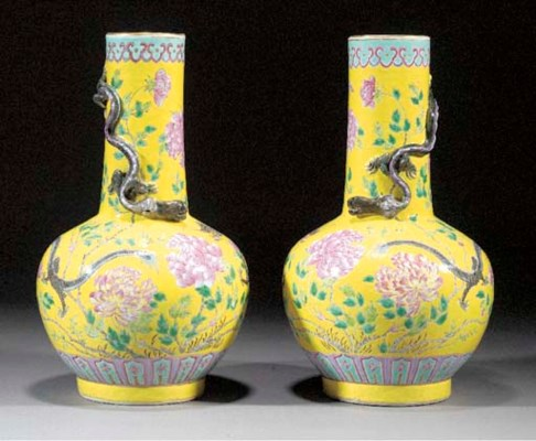 A pair of famille rose, yellow