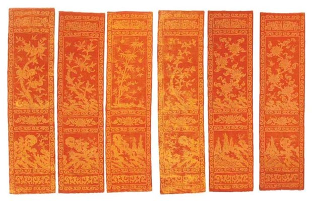 Six hangings of saffron yellow