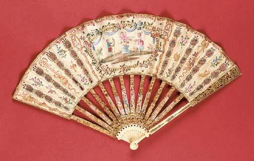 A fan, the silk leaf painted w