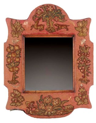 A mirror, the shaped surround