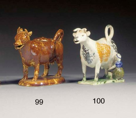 A pottery cow-creamer and cove
