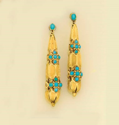 A pair of antique gold and tur