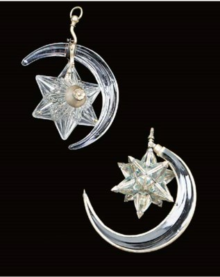 Two glass and silvered metal s