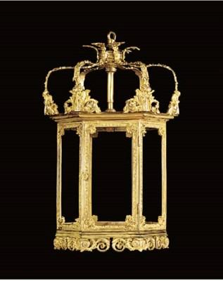 A gilt bronze hexagonal lanter