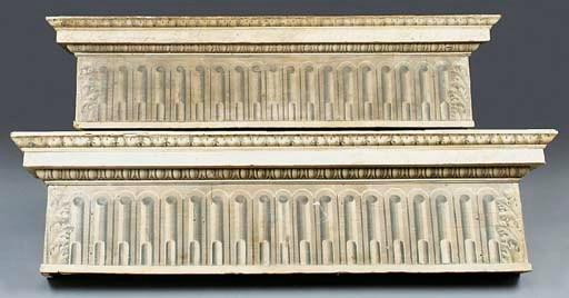 Two polychrome wood pelmets, 1