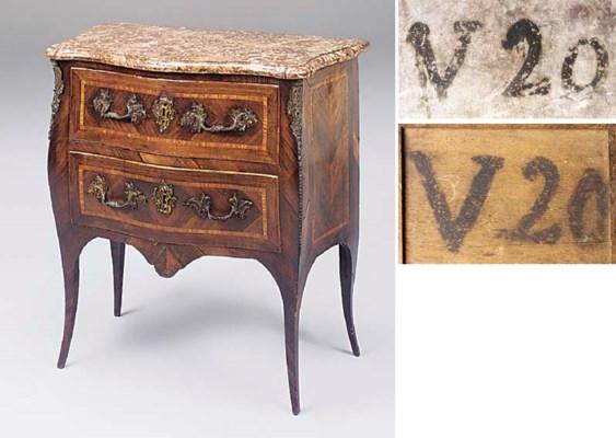 A Louis XV rosewood, kingwood,