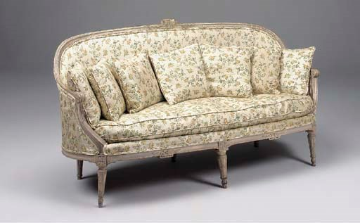 A Louis XVI grey painted canap