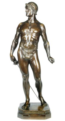 A bronze model of a gladiator,