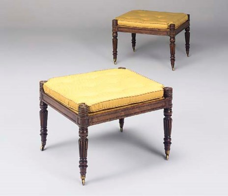 A pair of rosewood stools