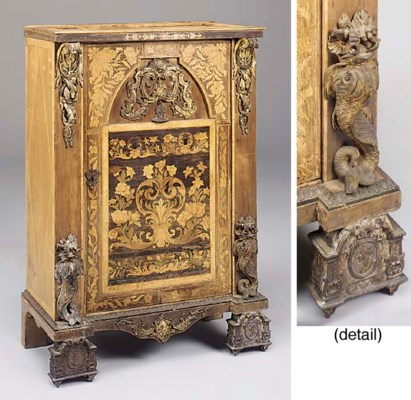 A WALNUT MARQUETRY AND ORMOLU