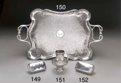 A silver niello two-handled tr