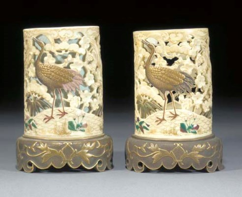 Two Royal Worcester ivory-grou