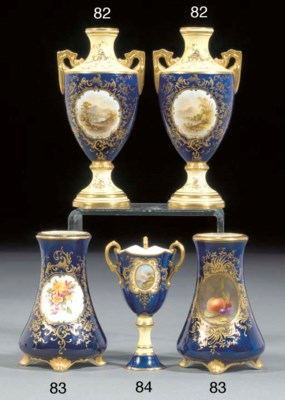 A pair of Coalport dark-blue g