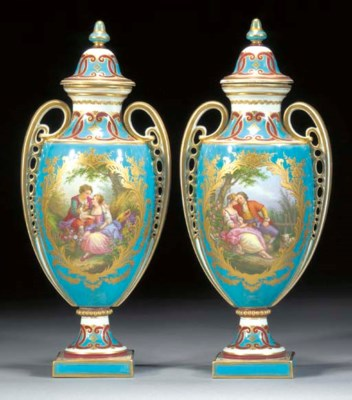 A pair of Sèvres-style two-han