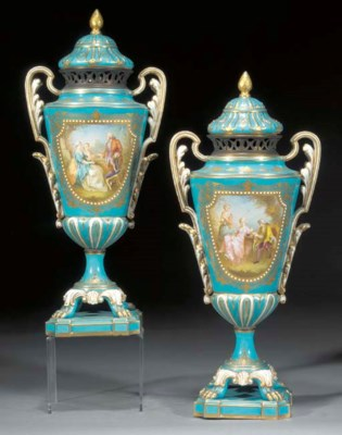 A pair of Sèvres-style turquoi