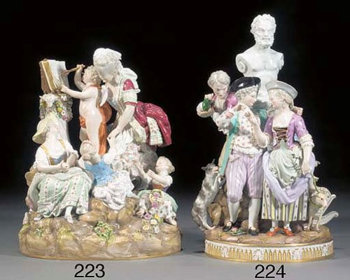 A Meissen allegorical group